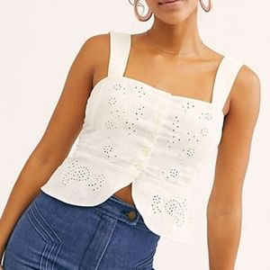 Free People cropped eyelett tank size large nwt
